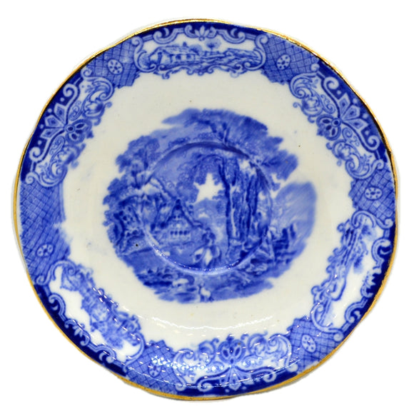 Heathcote Blue and White China Old English Scenery Saucer