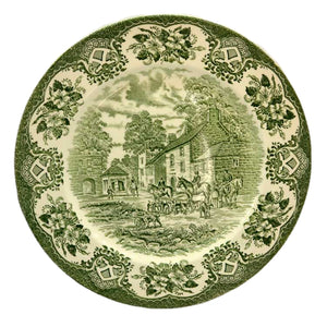 English Ironstone Tableware Old Inns Series Green and White china dinner plate