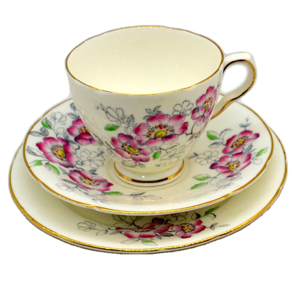 Old Royal Floral Bone China Cherry Blossom Teacup Trio