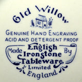 English Ironstone China Mark Old Willow