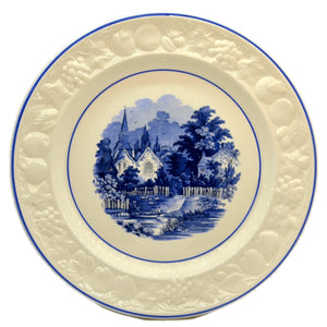 Vintage Blue and White China orchard Dinner Plate