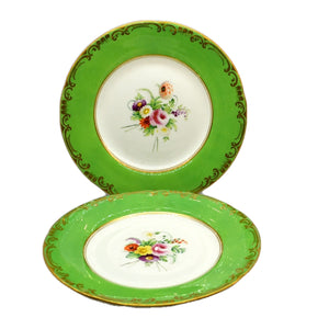 A pair of Antique Floral China Wall Plates