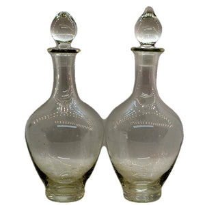 Pair of Early English Vintage Wine Decanters