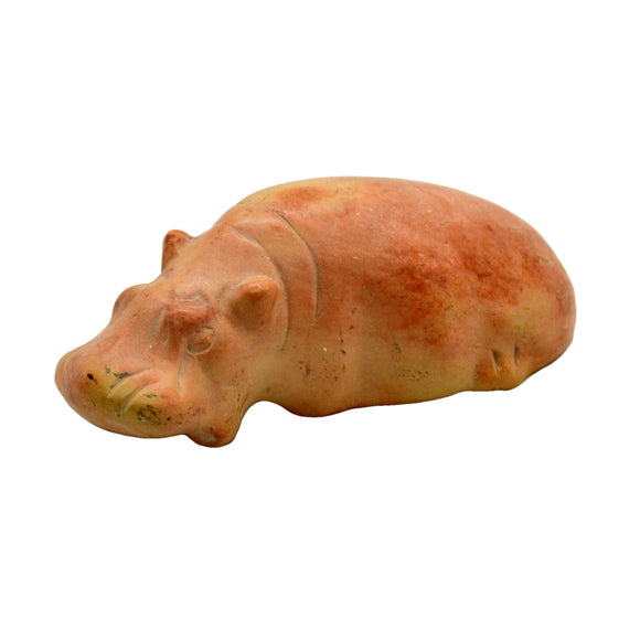 Vintage Pale Soapstone Hippo Carved and Polished