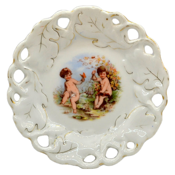 Antique Cherub Pierced Oak Leaf China Cabinet Plate