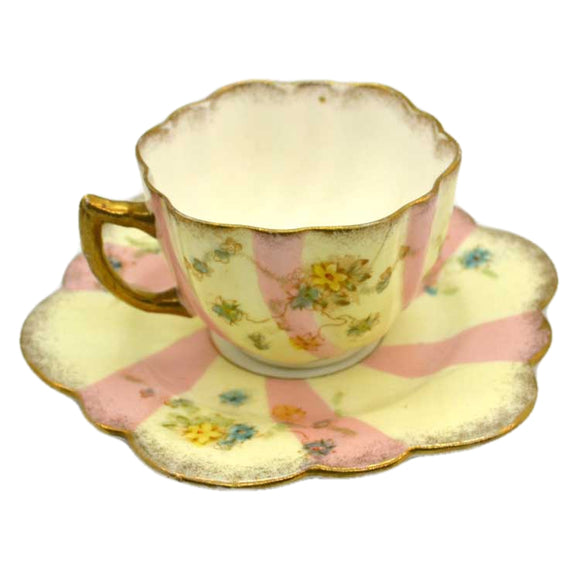 Vintage candy stripe floral china tea cup and saucer