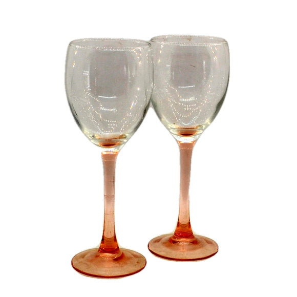 Vintage Pink Stemmed Wine Glasses