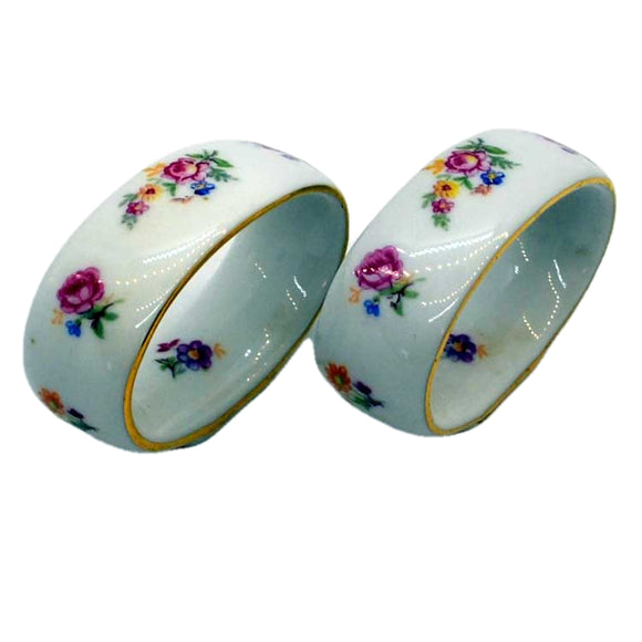 vintage floral china napkin rings