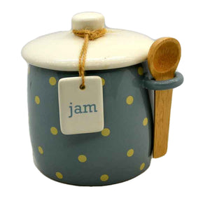 Marks & Spencer Covered Jam Pot Jar & Wooden Spoon Blue Polka Dot