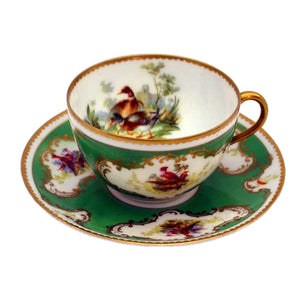 Continental china Ornithological tea cup and saucer set