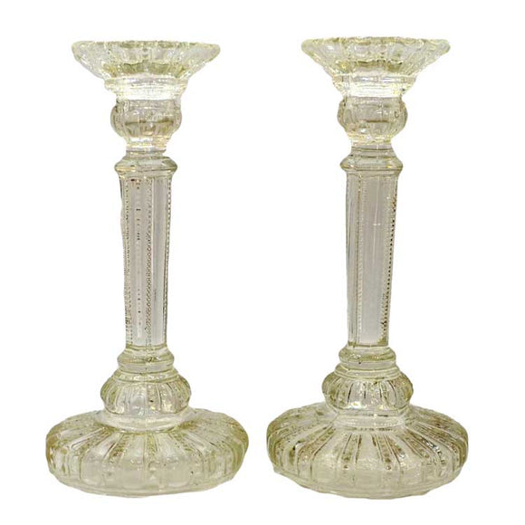 Early pressed glass candlesticks