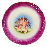Antique Purple Rim Cherub Pierced China Cabinet Plate