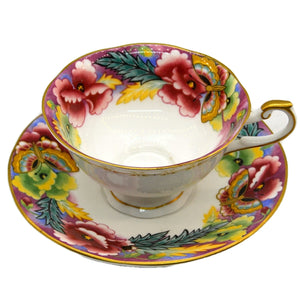 Vintage Queen's China Floral Art Deco Maroon Teacup and Saucer