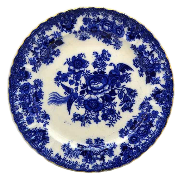 Ralph Hammersley & Sons Asiatic Pheasants Blue and White China Plate 1899