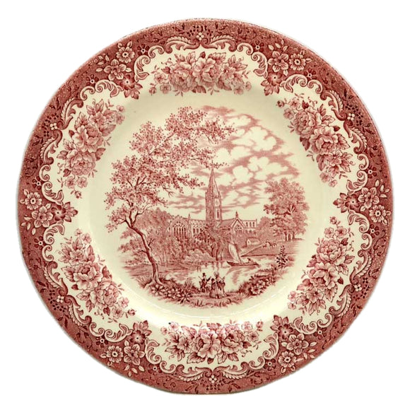 English Ironstone Tableware Red and White china dinner plate