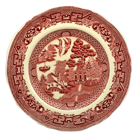 red and white china willow pattern plate