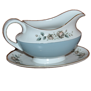 rose elegans gravy boat and saucer royal doulton china