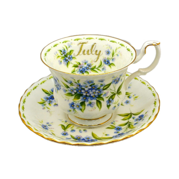 Royal Albert Flowers of the Month Series Floral China Teacup and Saucer
