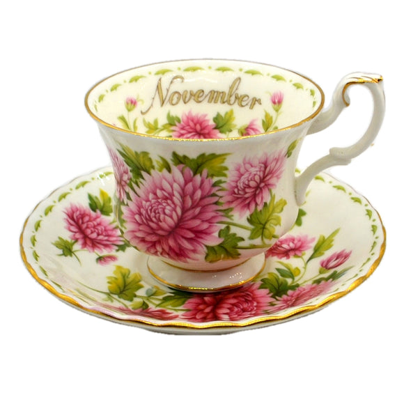 Royal Albert Flowers of the Month Series Floral China Tea Cup Chrysanthemum November