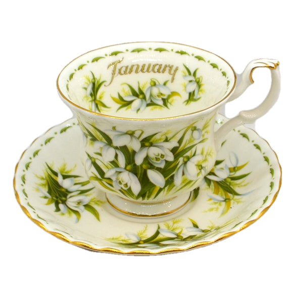 Royal Albert Flowers of the Month Series Floral China Teacup and Saucer Snowdrops January
