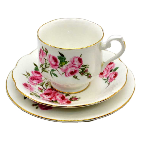 Royal Albert Pink Roses Hampton Shape Teacup Trio