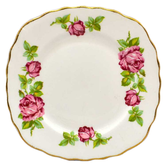 Royal Vale Floral China Pink Roses Square Side Plate