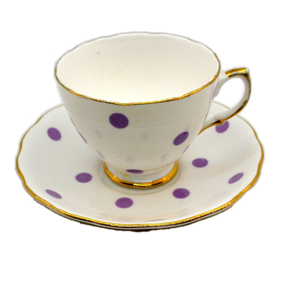 Royal Vale China Lilac Polka Dot Teacup