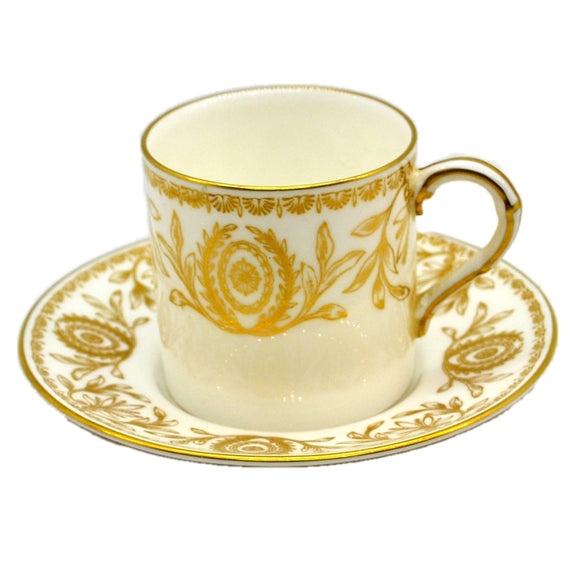 Royal Worcester China Pompadour Gold and White Demitasse Cup and Saucer