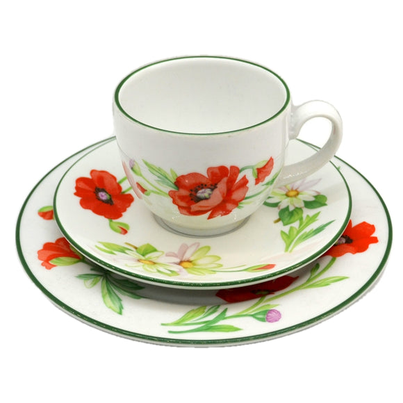 Royal Worcester China Poppies Teacup Trio