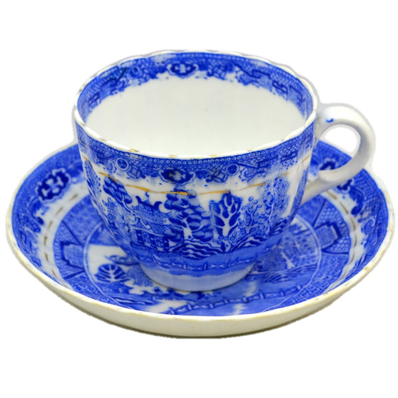 Antique Salt and Nixon Blue and White China Willow Cup and Saucer 1897