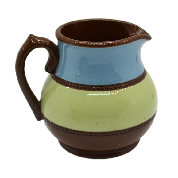 Small James Sadler Brown Betty Olive and Blue Milk Jug