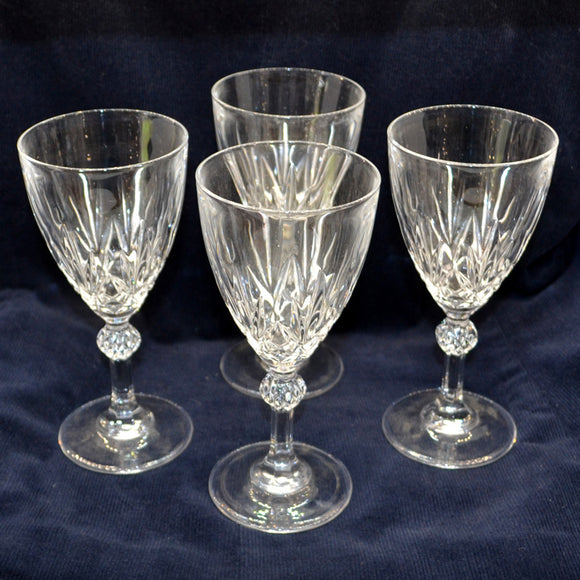 Set of Four Medium Facet Stem Wine Glasses