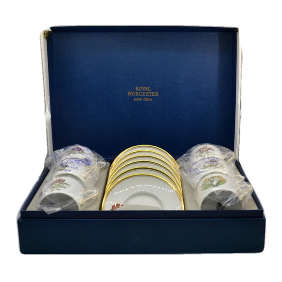 Royal Worcester Floral China Boxed Demitasse Cup and Saucer Set