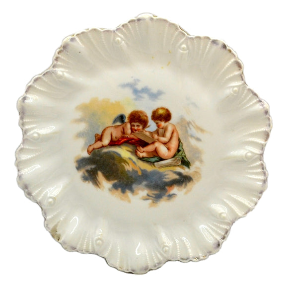 Cherub Porcelain China Shell rimmed Cabinet Plate