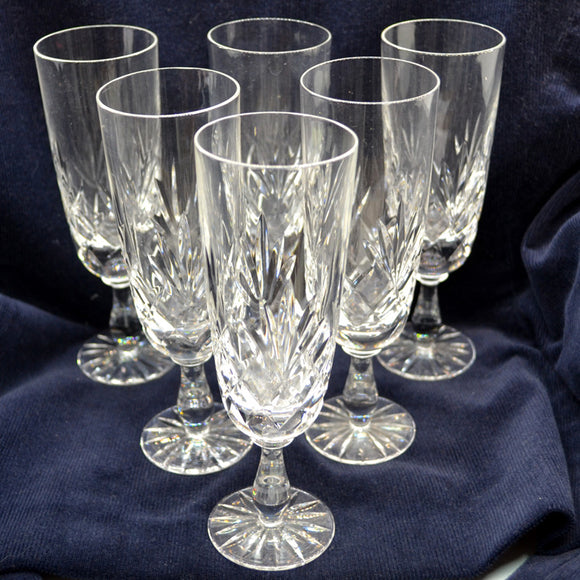Vintage Set of 6 Lead Crystal Champagne Glasses
