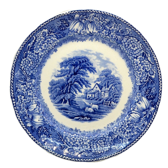 Adams English Countryside Blue and White China 8-inch Soup Bowl