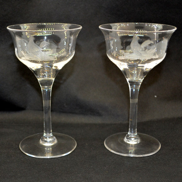A Pair of English Ogee Bowl Fine Etched Wine Glasses