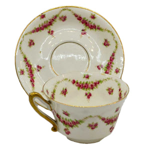 superb antique foley floral china teacup and saucer