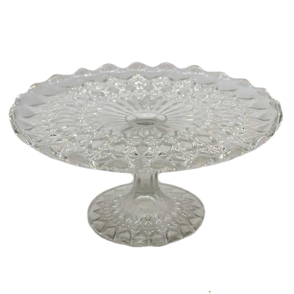 Vintage mid century English quarter-molded tall glass cake stand