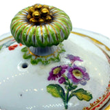The Auricula floral antique teapot lid repairs 19th century