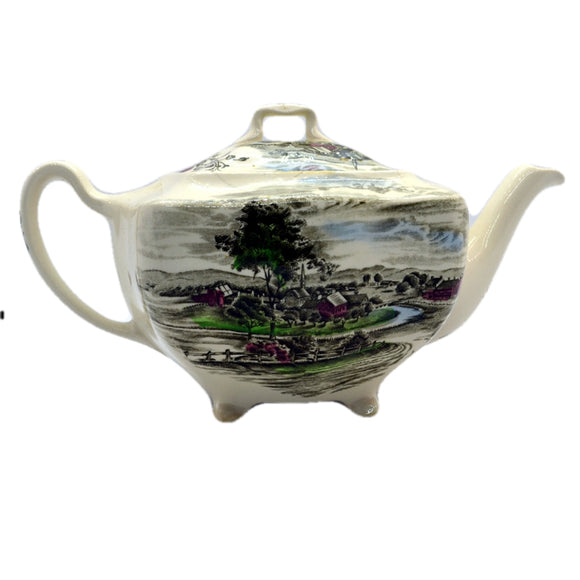 vintage johnson bros china teapot the friendly village