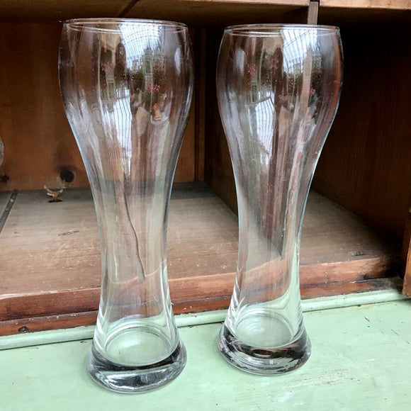 Pair Of Modern Tall Glass Tulip Vases