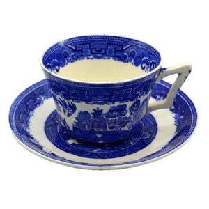 Victoria Porcelain Blue and White Willow Teacup and Saucer