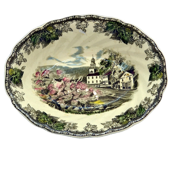 the village green serving bowl from the friendly village by johnson bros china
