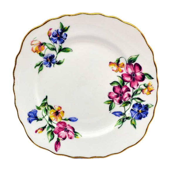 Rare Colclough post war Floral pattern china side plates