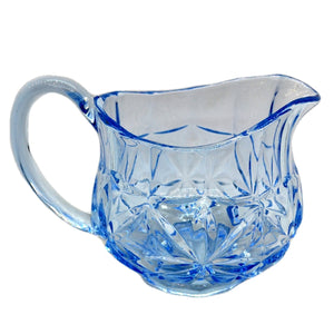 Vintage Blue Pressed Glass Jug