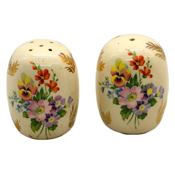 Vintage Floral China Salt and Pepper Pots