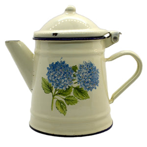 Vintage Enamel Tea Pot with Hydrangea design 1Pint