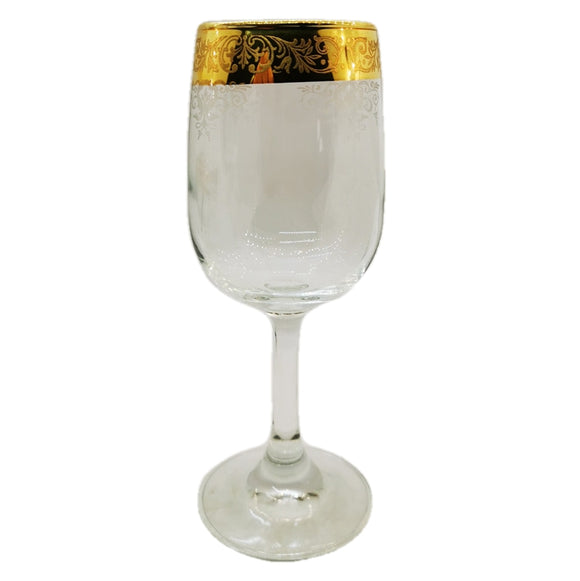 Vintage gilded wine glass english