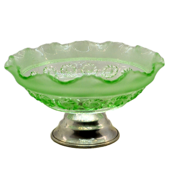 Vintage Pressed Green Glass Pedestal Bowl